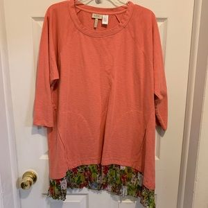 LOGO Tunic Floral Pockets 1x Coral